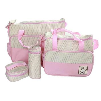 Baby Diaper Bag Nappy Mummy Bag Print Maternity Handbag Changing Baby Messenger Bag 5pcs/set