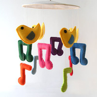 Felt bird mobile, baby bird mobile, nursery decor, colorful music notes, singing birds, baby room decor