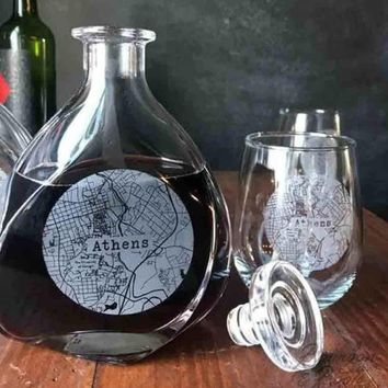 College Town Alumni Etched Map Wine Decanter