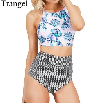 Trangel Print swimwear women high waist bikini set cross criss swimsuit sexy bikinis backless bathing suits female biquini 2017