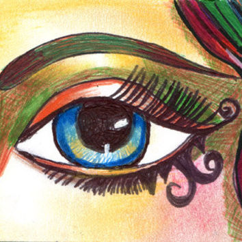 original art drawing I Spy eye aceo Atc womans blue eye mini art drawings colored pencil pen ink fantasy original artwork