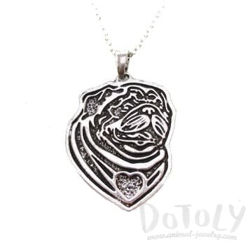 Pug Puppy Dog Portrait Pendant Necklace in Silver | Animal Jewelry
