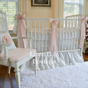 Linen Baby Bedding 3 Pieces. White Linen Crib Bedding 3 Piece Set. Skirt, Bumpers, 3 Decorative Bows.