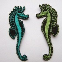 Iron On Patches Two Seahorse Appliques