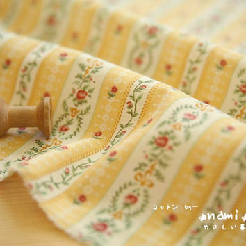 Shabby Chic Neat Spring Pale Yellow Colorway LIttle Red Rose Lace Floral Flower Wreath Branch Stripes - Japanese Cotton Fabric (1/2 Yard)