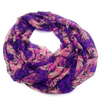Feathers infinity scarf, Pink and Purple