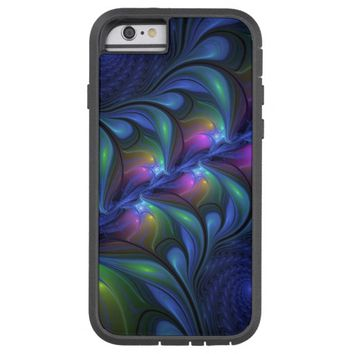 Colorful Luminous Abstract Blue Pink Green Fractal Tough Xtreme iPhone 6 Case