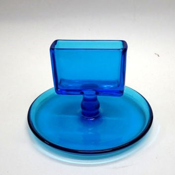 1930's Peacock Blue Depression Glass Cigarette or Business Card Holder Wide Base