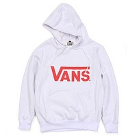 VANS fleece sweater fashion casual men and women students sweater hoodie letter printing  White