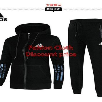 Adidas Jacket Sweater New Style Fashion Trend Long Sleeve Suit For Men 18928 L-4X Black