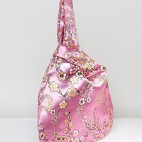 ASOS Floral Satin Grab Pouch Bag at asos.com