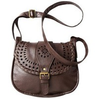 Mossimo Supply Co. Brown Laser Cut Messenger