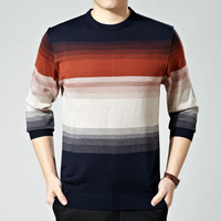 Men Round-neck Long Sleeve Pullover Tops Korean Stripes Knit Men's Fashion Sweater [6544197315]