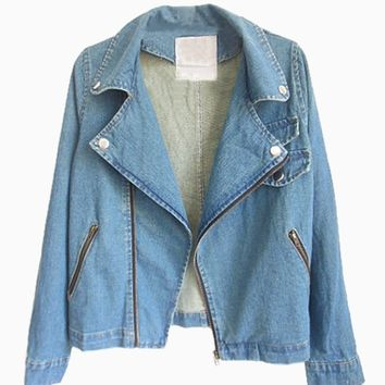 Denim Jacket In Acid Wash With Zip - Choies.com