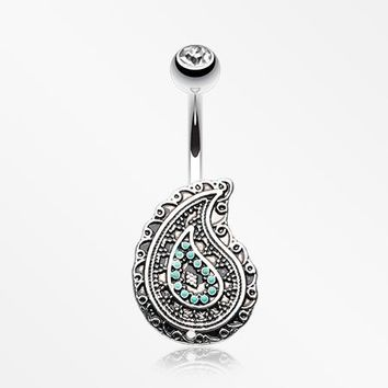 Vintage Boho Paisley Turquoise Belly Button Ring