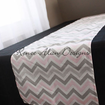 Pink, taupe and gray chevron table runner - Baby shower runner - Nursery decor - Wedding table runner - Coffee Table