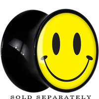 4 Gauge Black Acrylic Yellow Smiley Face Saddle Plug | Body Candy Body Jewelry