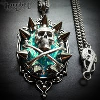 Blue Opal Skull Spike Necklace - Necklaces | RebelsMarket