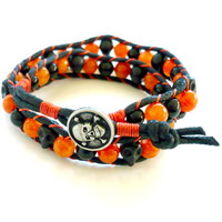 Halloween Orange and Black Agate and Skull Double Wrapped Bracelet