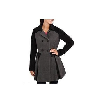 Women's Colorblock Faux Wool Swing Coat, Large, Charcoal/Black Ib Diffusion