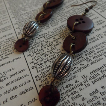Button Earrings, Beads, Recycled, Cute, Shabby Chic S32