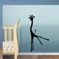 Wall decal decor decals art sticker giraffe animal cheerful funny cartoon heart nursery family (m423)