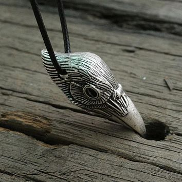 Viking Raven Head Pendant Men Necklace