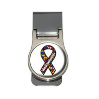 Autism Awareness Ribbon on White Money Clip