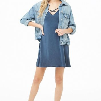 Crisscross V-Neck T-Shirt Dress