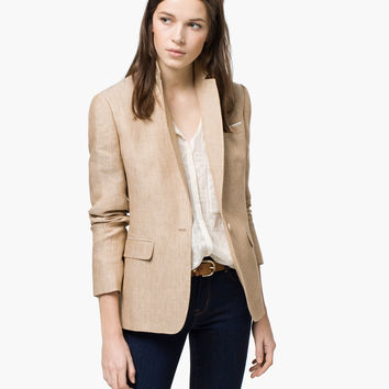 CAMEL TEXTURED BLAZER - View all - Blazers - WOMEN - España (Excepto Canarias)/Spain (except the Canary Islands)
