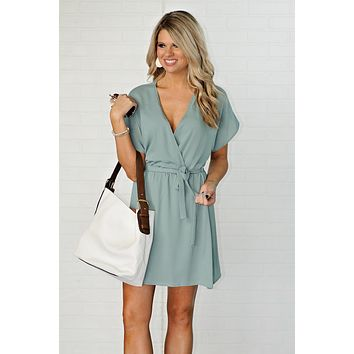 * Anastasia Surplice Dress With Tie Waist : Sage