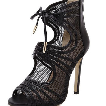 Size 4~9 Punk Black Lace Up Women Shoes Cool Zipper Summer High Heels Shoes Pumps zapatos mujer (Check Foot Length)