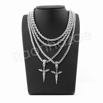 "ICED OUT ISSA KNIFE PENDANT SILVER W/ 24"" ROPE /18"" TENNIS CHAIN NECKLACE"