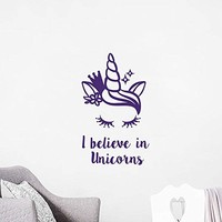 I Believe in Unicorns Wall Decals Magical Unicorn Decal Quotes Vinyl Sticker Family Lettering Decal Bedroom Nursery Kids Decor NV253