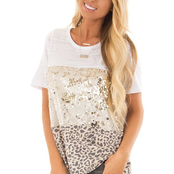 Champagne Leopard and Gold Sequin Color Block Top