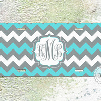 Personalized Custom License plate  tiffany blue and gray monogrammed chevron aluminium car tag