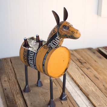 Recycled Metal Donkey Planter Cooler