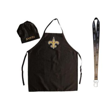 New Orleans Saints NFL Barbeque Apron and Chef's Hat with Bottle Opener