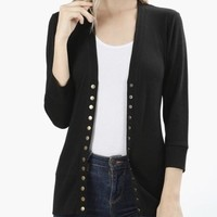 Black Snap Button Sweater Cardigan- Plus
