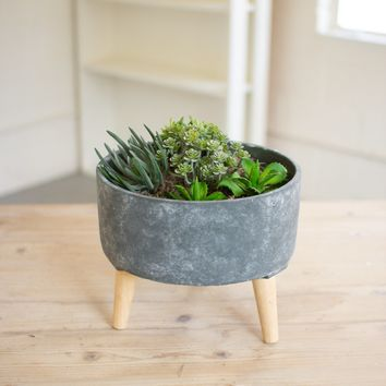 Medium Blue Ceramic Vessel With Wooden Legs