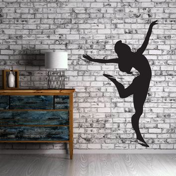 Large Vinyl Decal Slender Figure Girl Figure Skater Wall Sticker (n601)