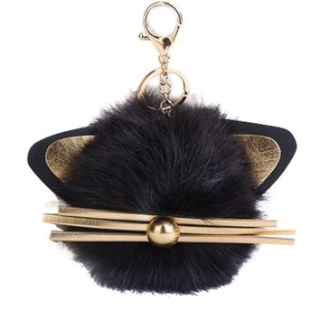 KITTY - Adorable Cat pompom Key chain Pendant for Women, Cat Lovers Gifts, Kitty, Cat Key Ring Holder Fluffy, Pompoms Key Chains