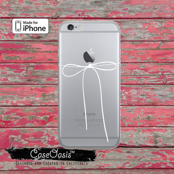 White Bow Thin String Cord Jewelry Cute Tumblr Clear Case iPhone 6 Plus iPhone 6s iPhone 6s Plus iPhone 5 iPhone 5c iPhone SE iPhone 7 Case