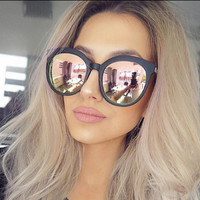 Sunglasses Women Luxury Brand Sunglasses Round Couple Pink Women 2017 Driving Sun Glasses Female Lunette Femme Rose Gold Shades
