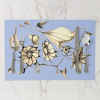 Exotic Art Deco Beautiful Watercolor Flowers Placemat