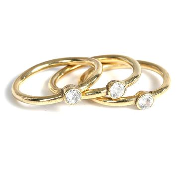 L George Designs | Crystal Gold Stacker Rings