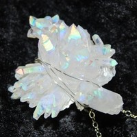Angel Aura Crystal Pendant Rainbow Handcrafted Sterling Silver Opal Aura Cluster OOAK