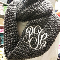 Chunky Charcoal Grey Infinity Scarf  Monogram Font Shown MASTER CIRCLE