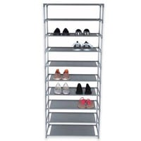 Home Basics® 10-Tier Coated Non-Woven Shoe Rack in Grey