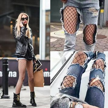 Women Fashion Temptation Solid Color Bottoming Fishing Net Socks Hollow Mesh Stockings Pantyhose